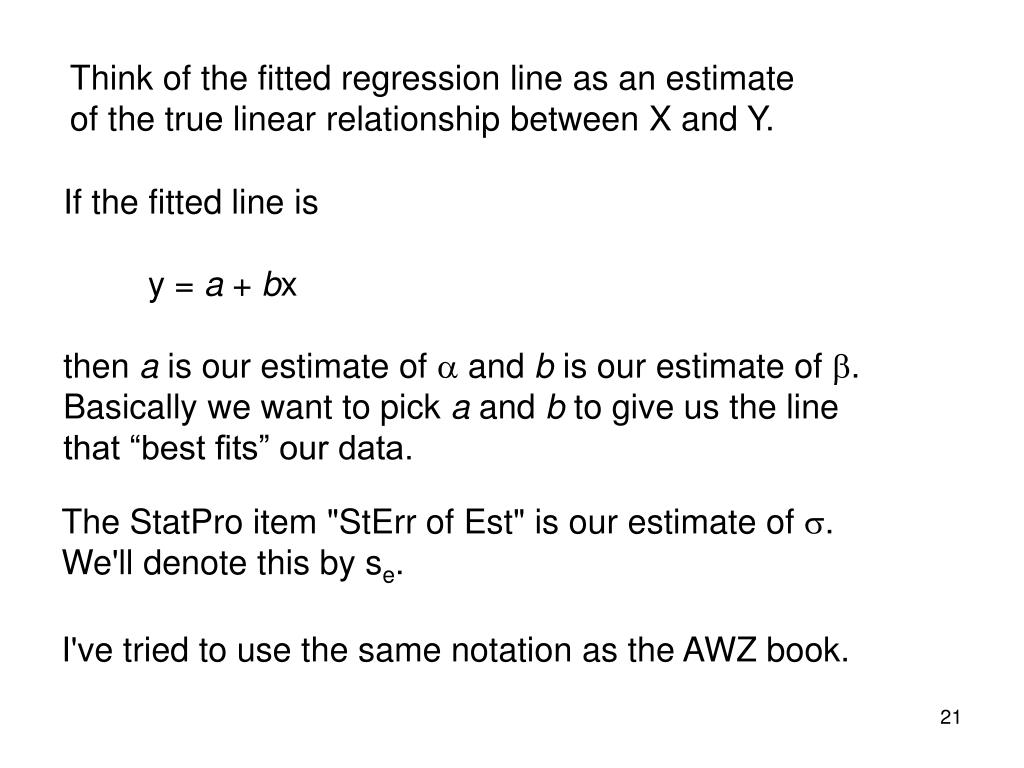 Think of the fitted regression line as an estimate