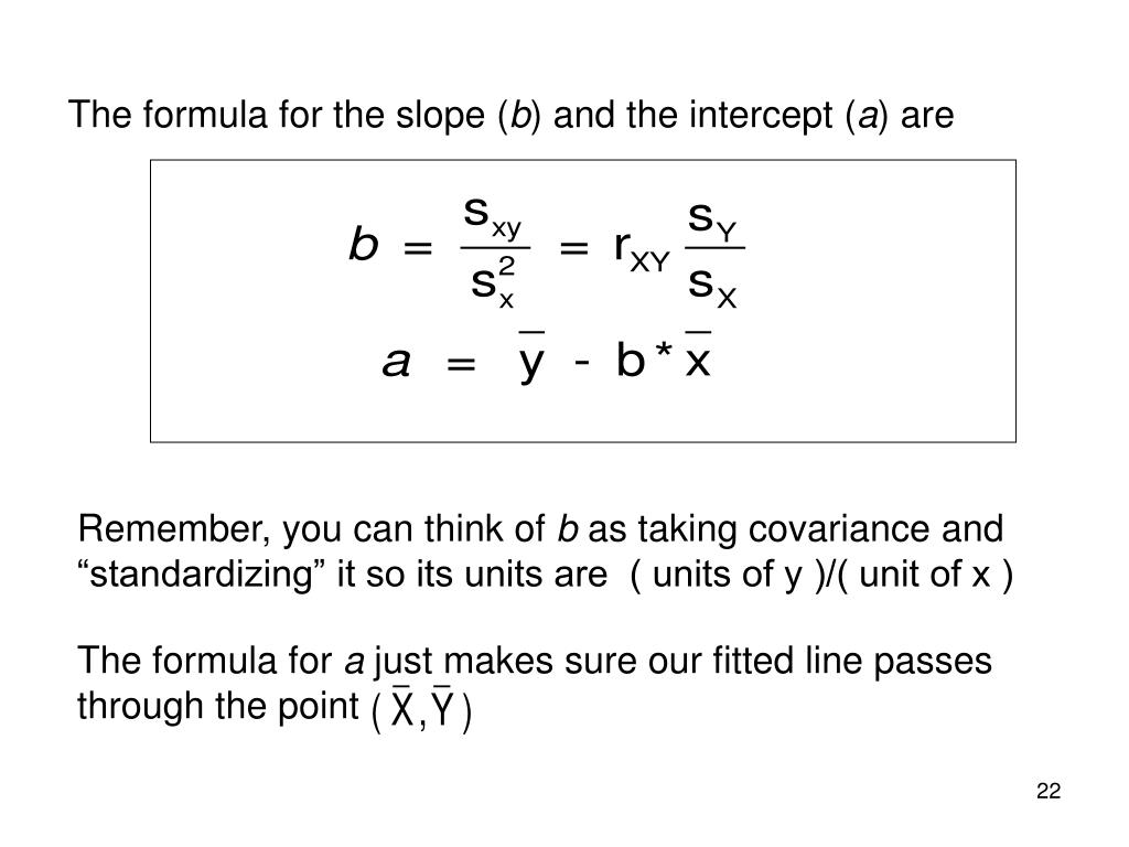 The formula for the slope (