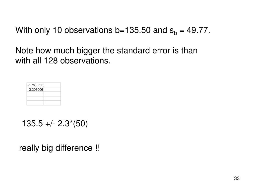 With only 10 observations b=135.50 and s