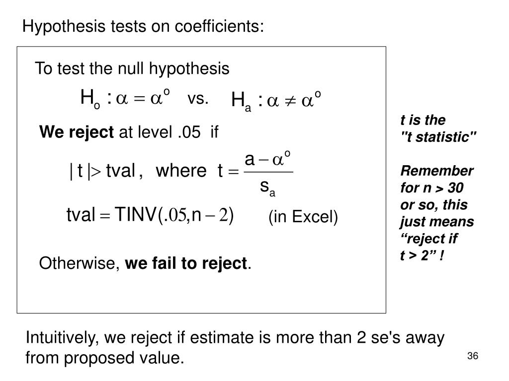 Hypothesis tests on coefficients: