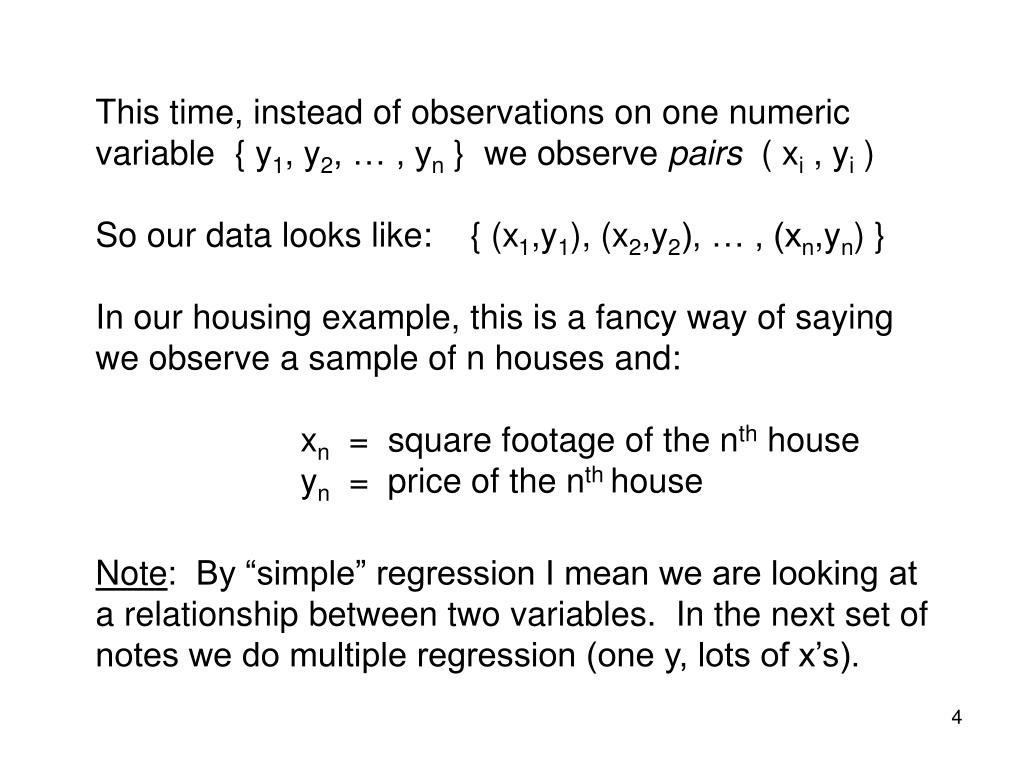 This time, instead of observations on one numeric variable  { y