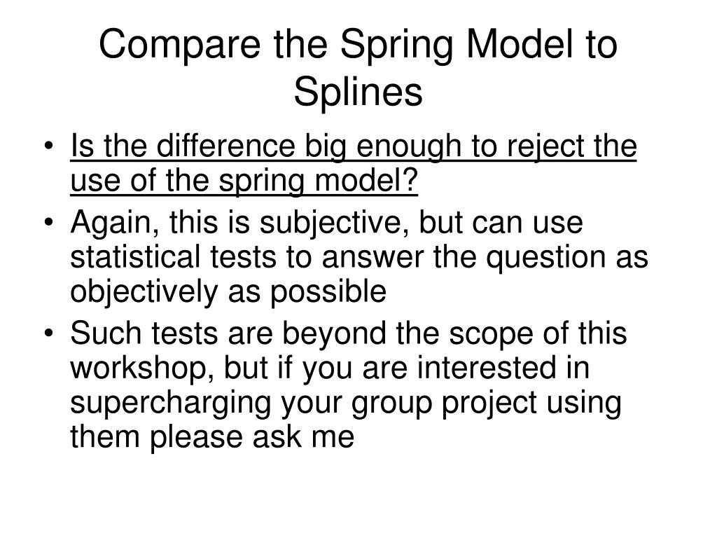 Compare the Spring Model to Splines