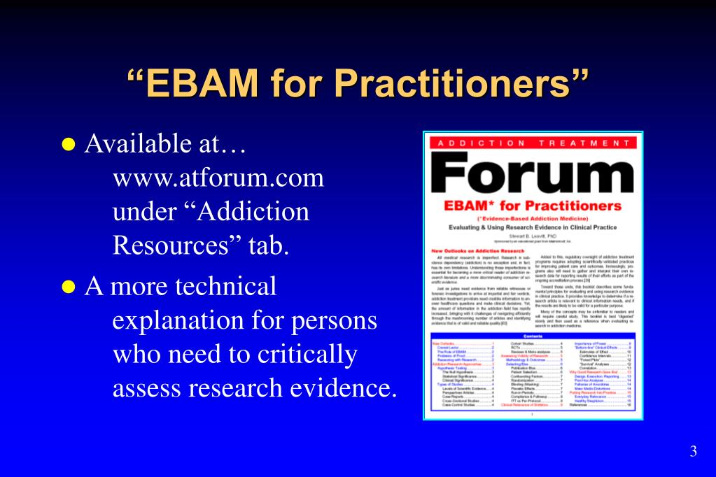 """EBAM for Practitioners"""