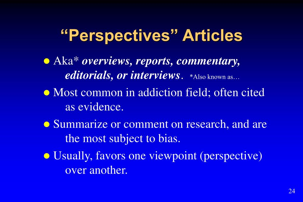 """Perspectives"" Articles"