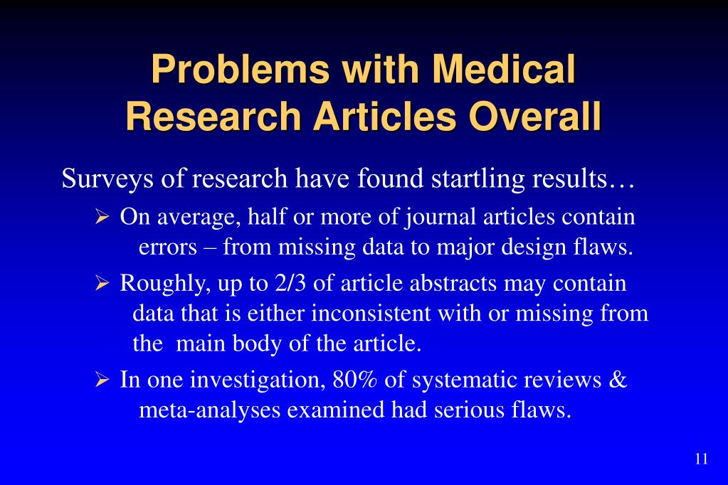 Problems with Medical Research Articles Overall