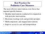 best practices for pediatrics care measures