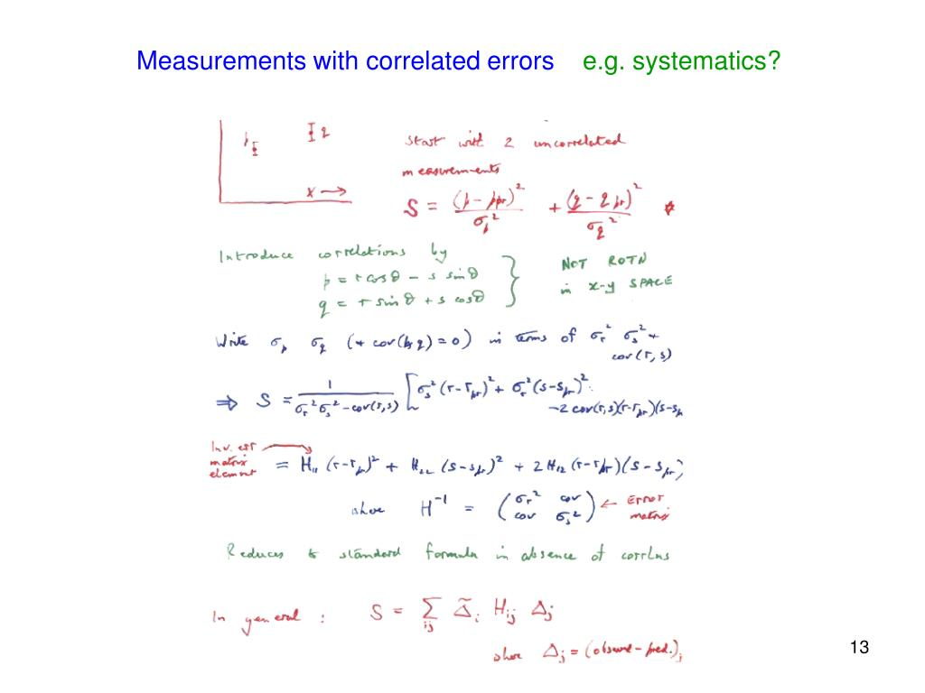 Measurements with correlated errors