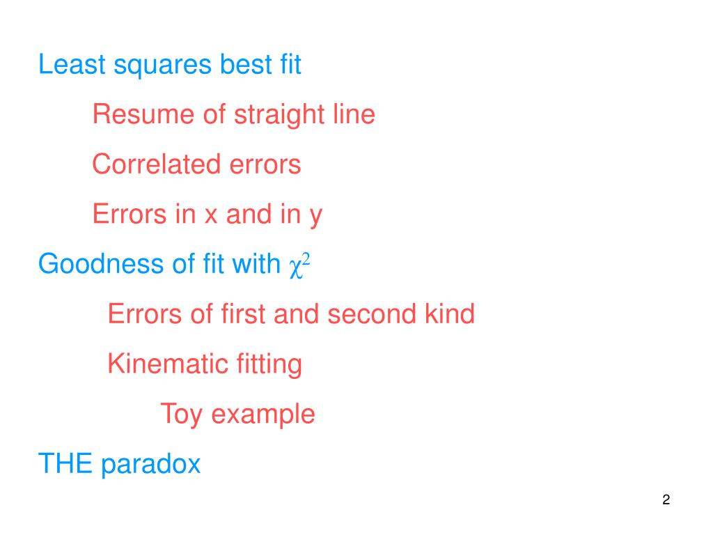 Least squares best fit
