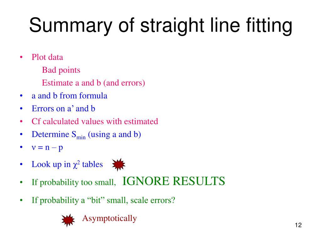 Summary of straight line fitting
