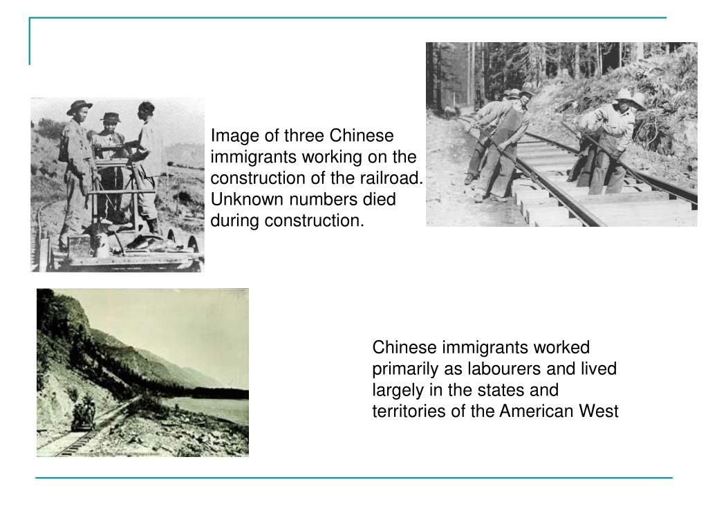 Image of three Chinese immigrants working on the construction of the railroad.