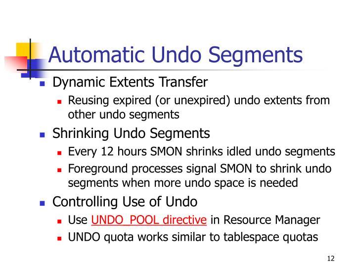 Automatic Undo Segments