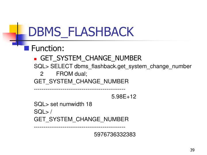 DBMS_FLASHBACK