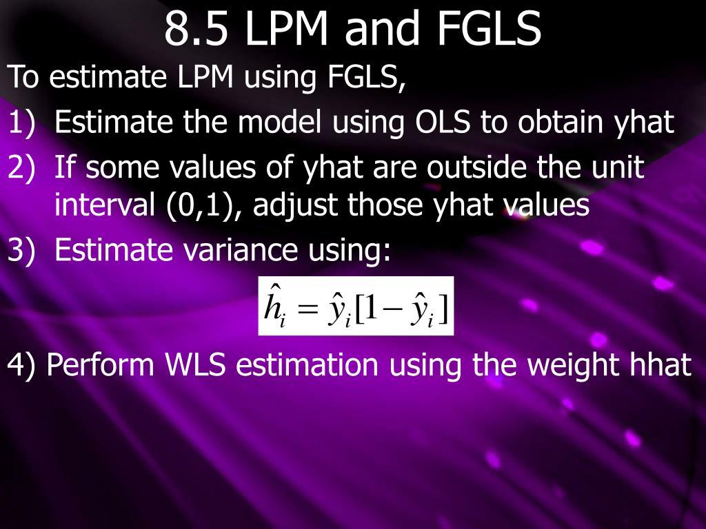 8.5 LPM and FGLS