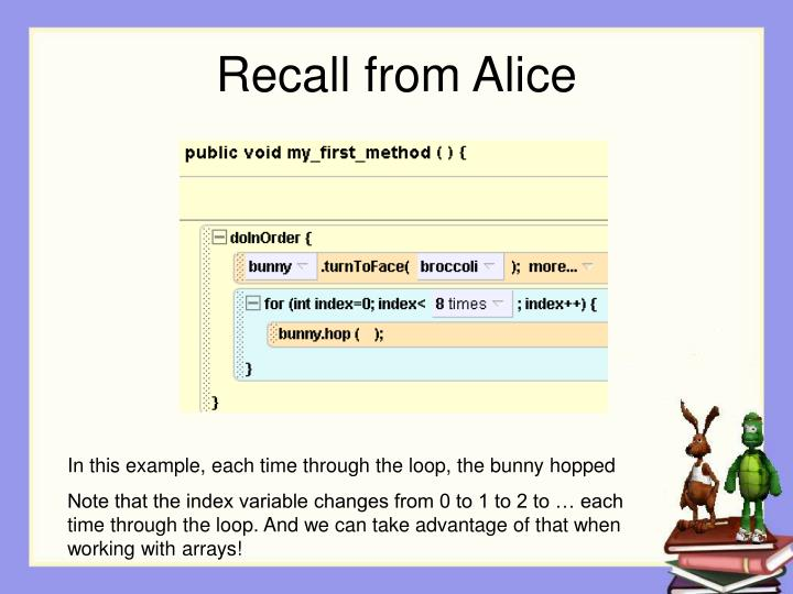 Recall from Alice