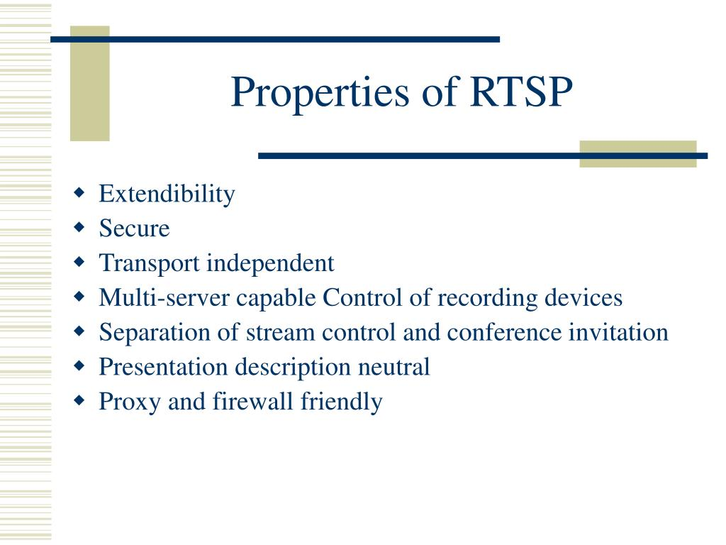 Properties of RTSP