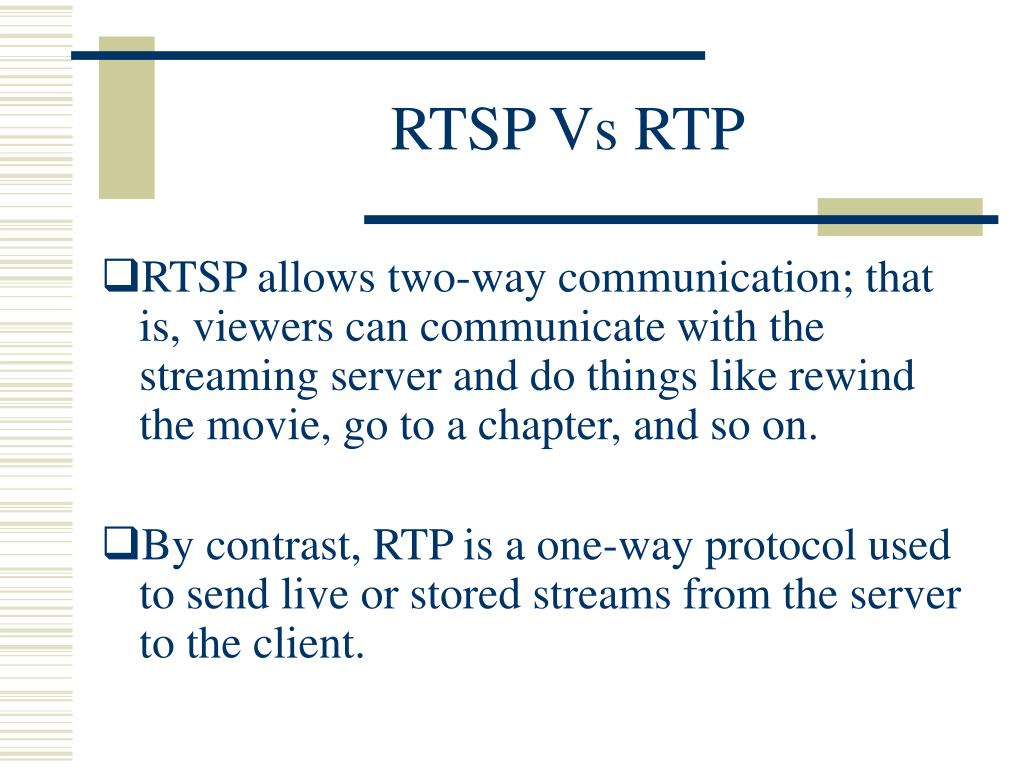 RTSP Vs RTP
