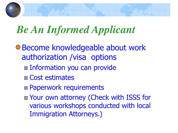 Be An Informed Applicant