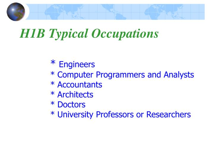 H1B Typical Occupations