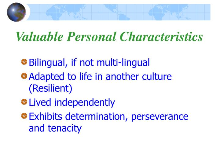 Valuable Personal Characteristics