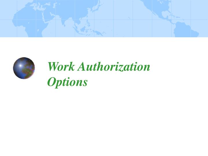 Work Authorization Options