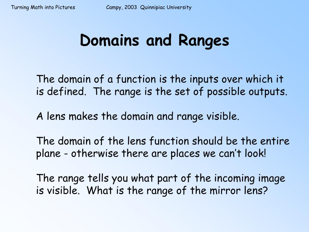 Domains and Ranges
