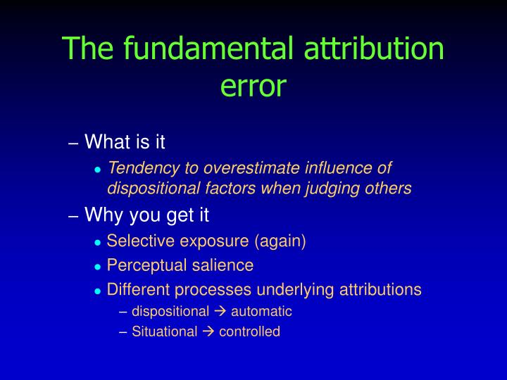 business essays fundamental attribution bias Episode 7: blaming the victim and other attribution biases michael march 11, 2007 cognition, intelligence and language , social psychology 11 comments blaming the victim - why do we do it.