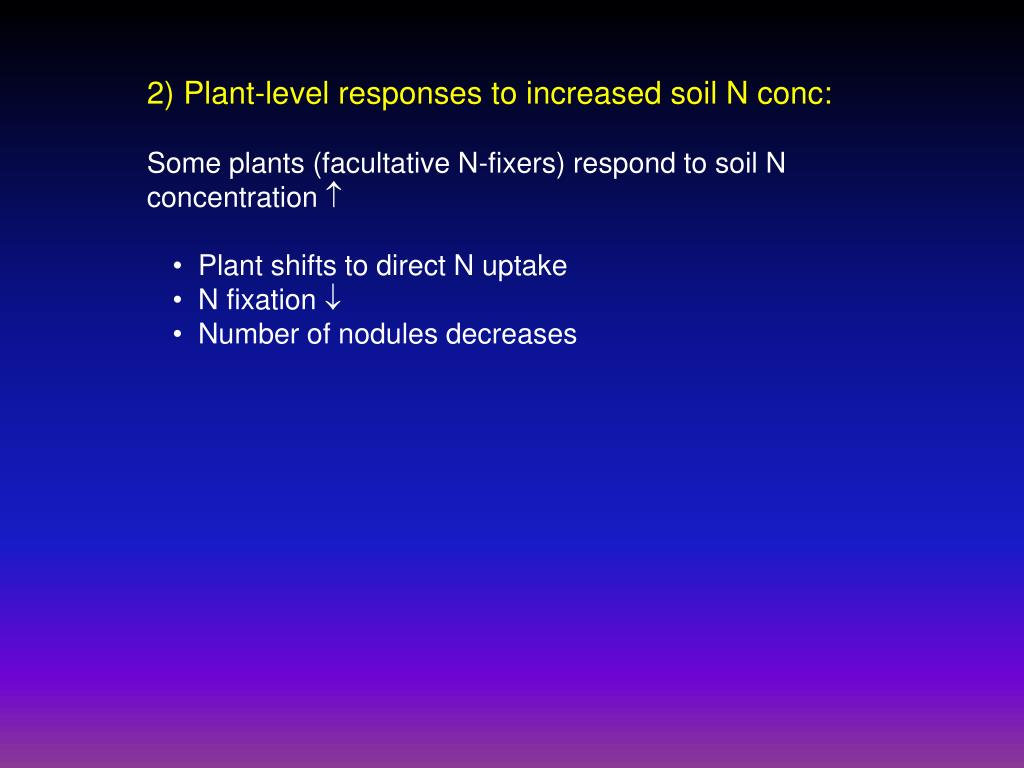 2) Plant-level responses to increased soil N conc: