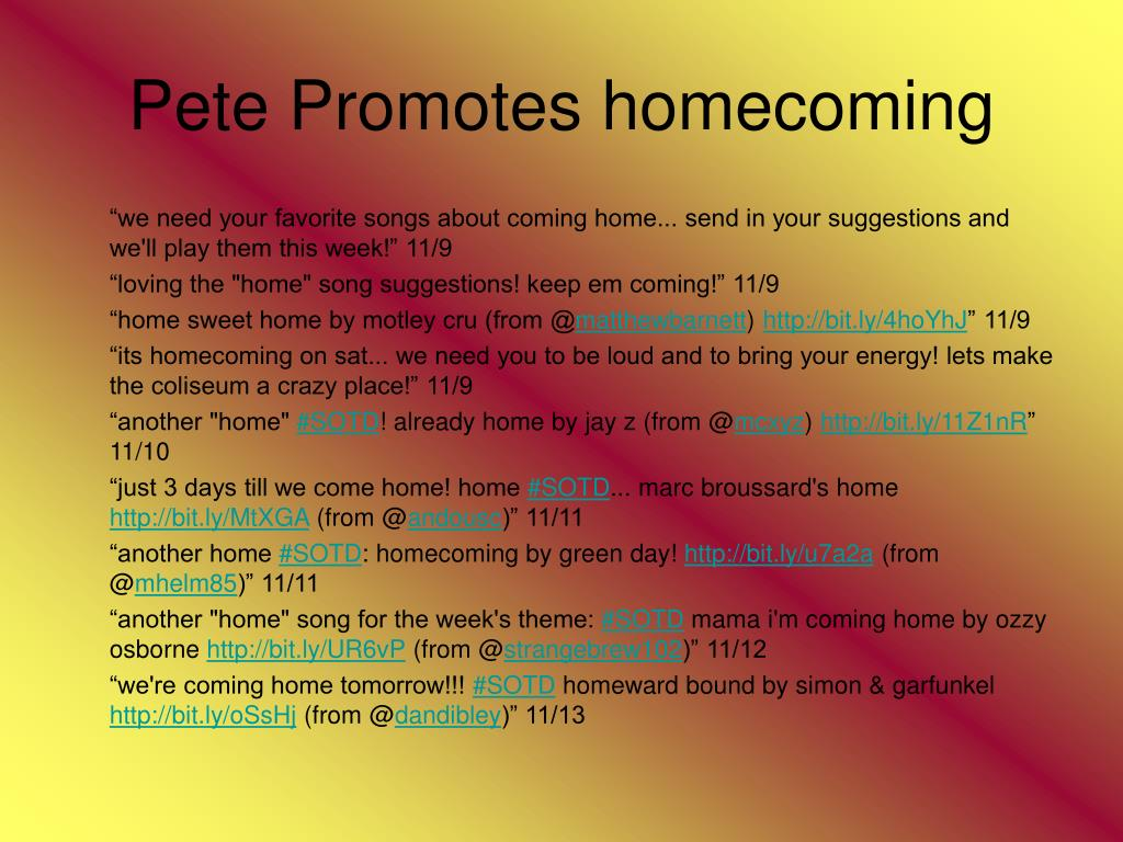 Pete Promotes homecoming