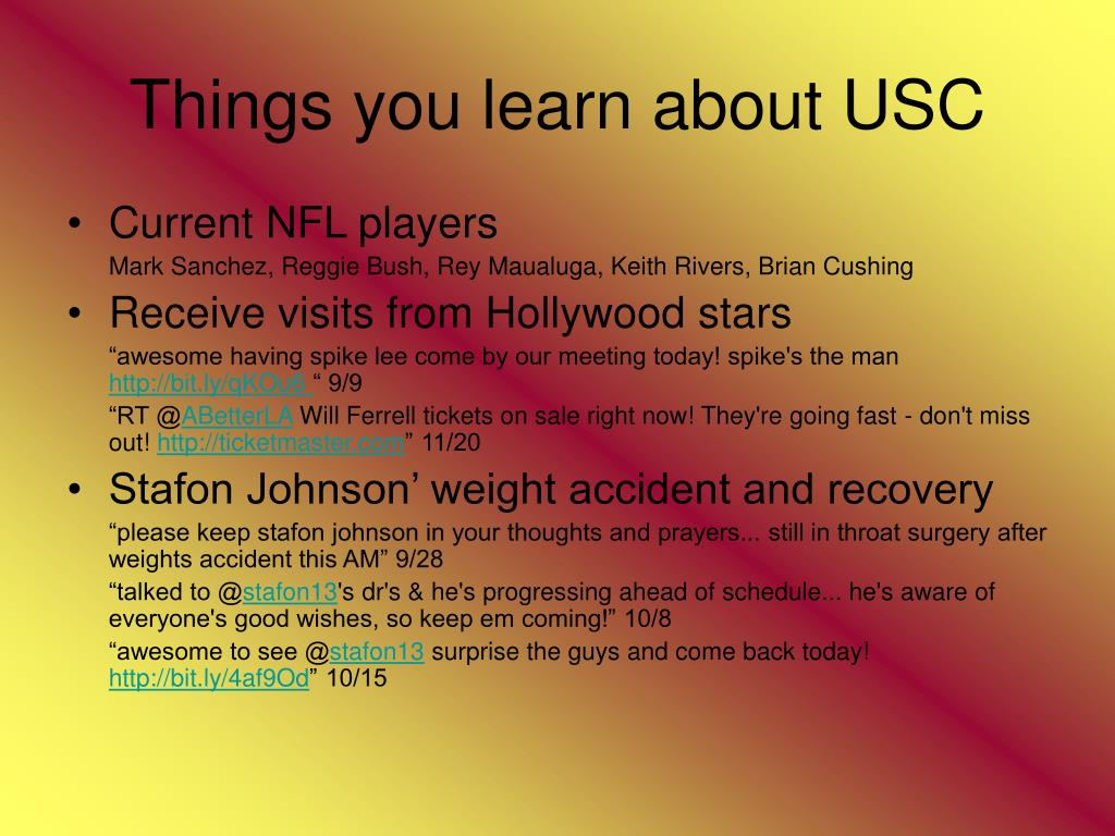 Things you learn about USC