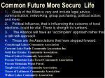 common future more secure life