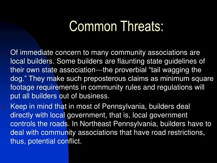 Common threats