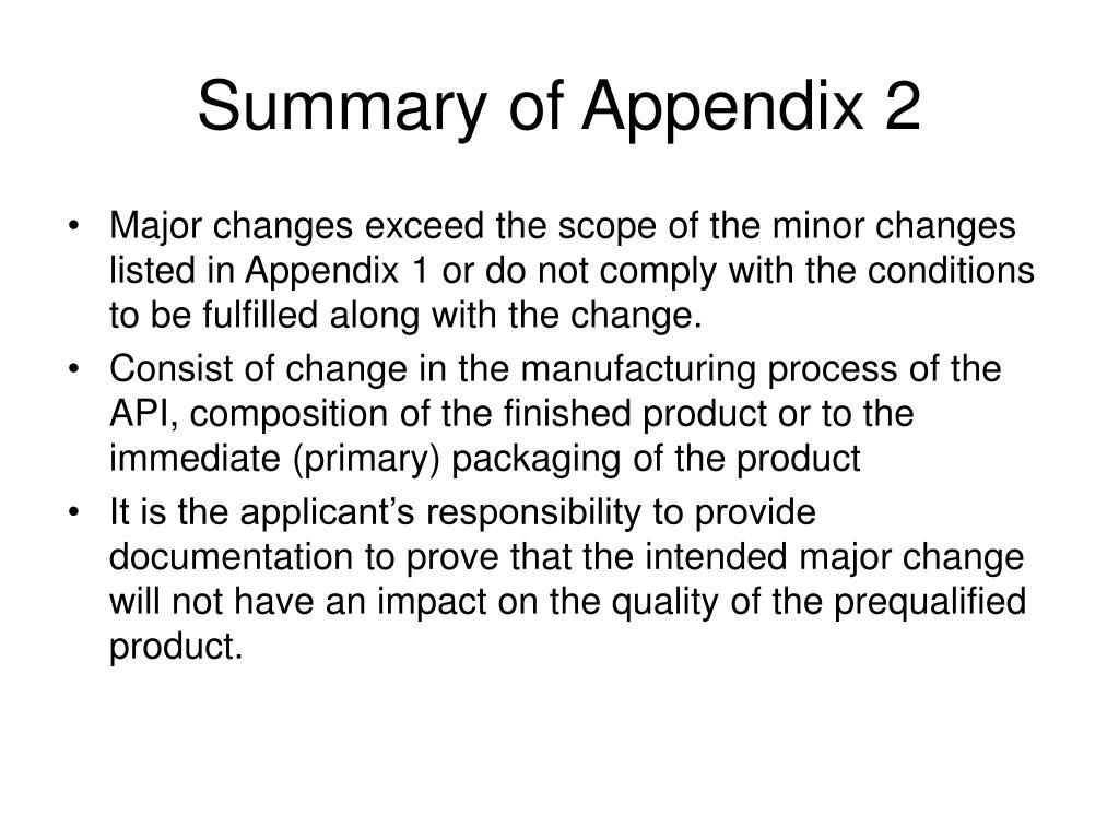 Summary of Appendix 2