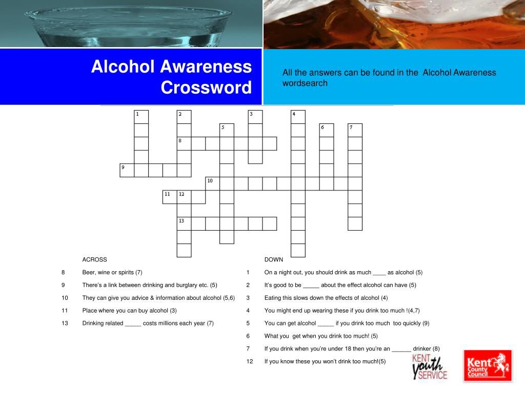 Alcohol Awareness Crossword