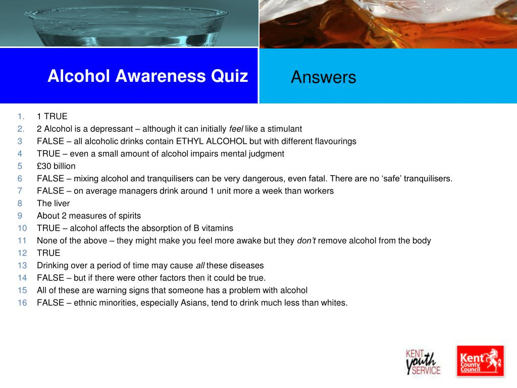 Alcohol Awareness Quiz