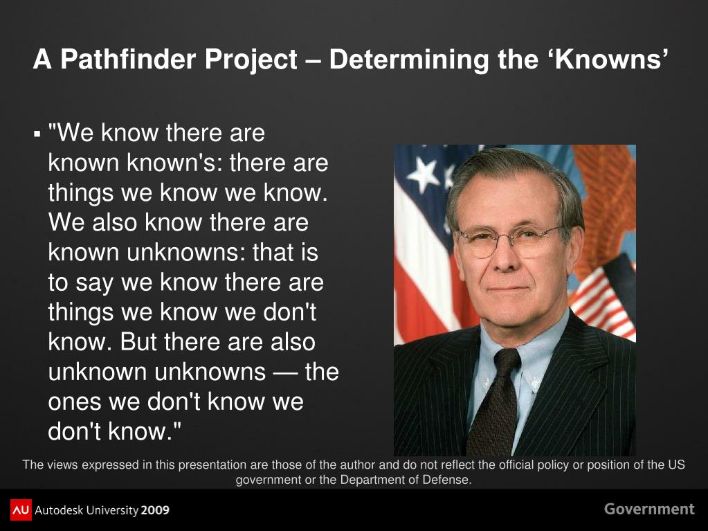 A Pathfinder Project – Determining the 'Knowns'