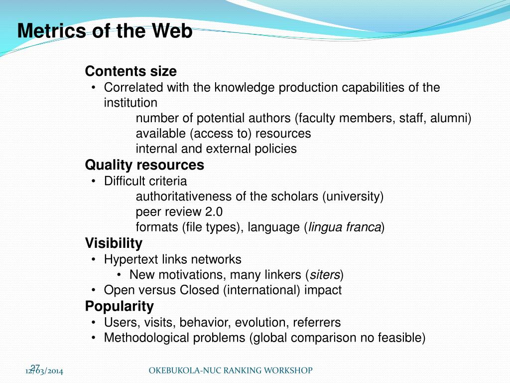 Metrics of the Web