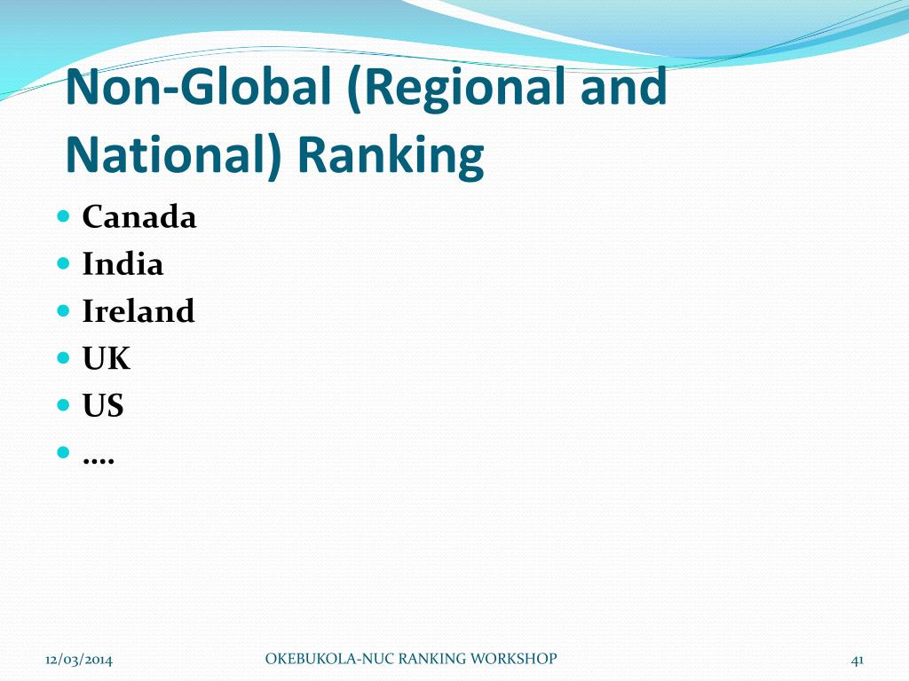 Non-Global (Regional and National) Ranking