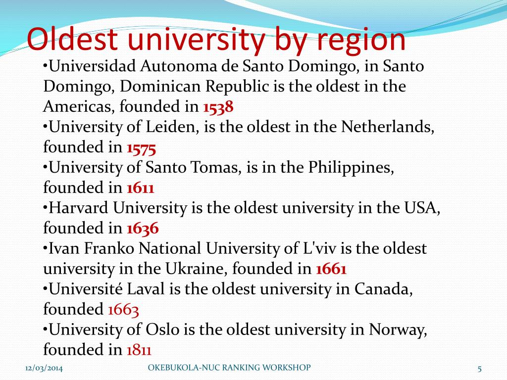 Universidad Autonoma de Santo Domingo, in Santo Domingo, Dominican Republic is the oldest in the Americas, founded in