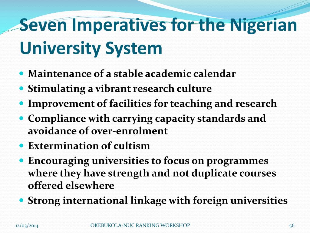 Seven Imperatives for the Nigerian University System