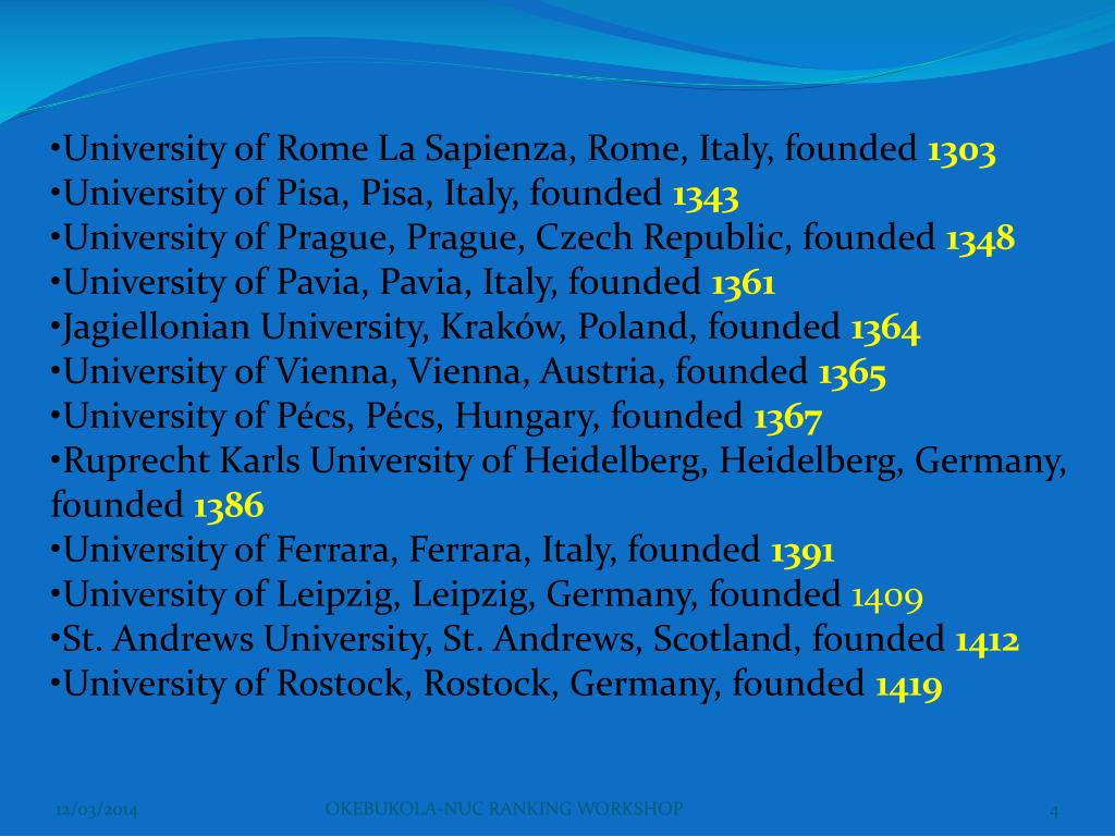 University of Rome La Sapienza, Rome, Italy, founded