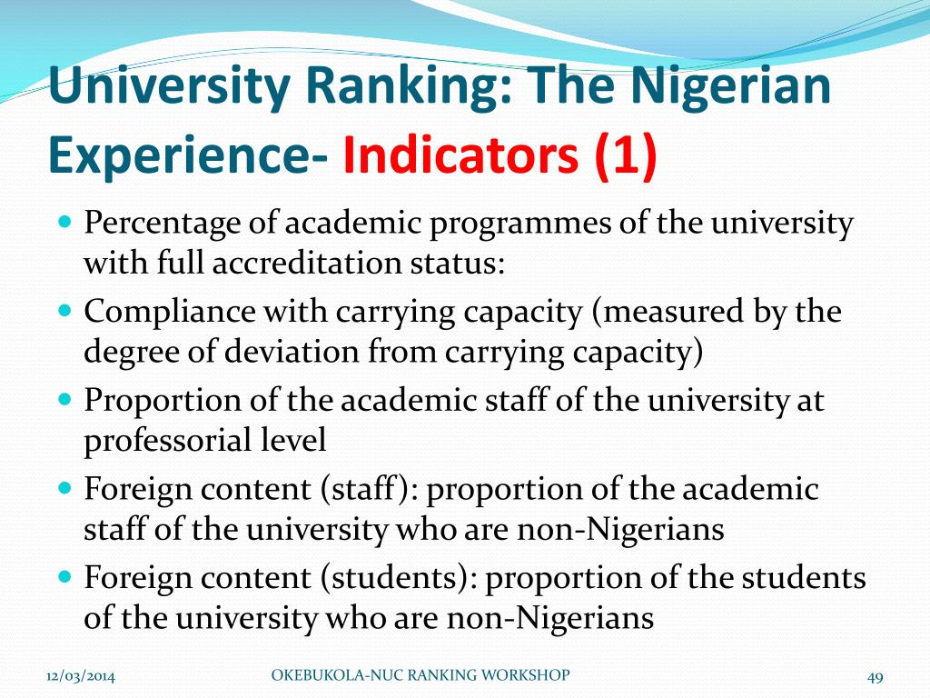 University Ranking: The Nigerian Experience-