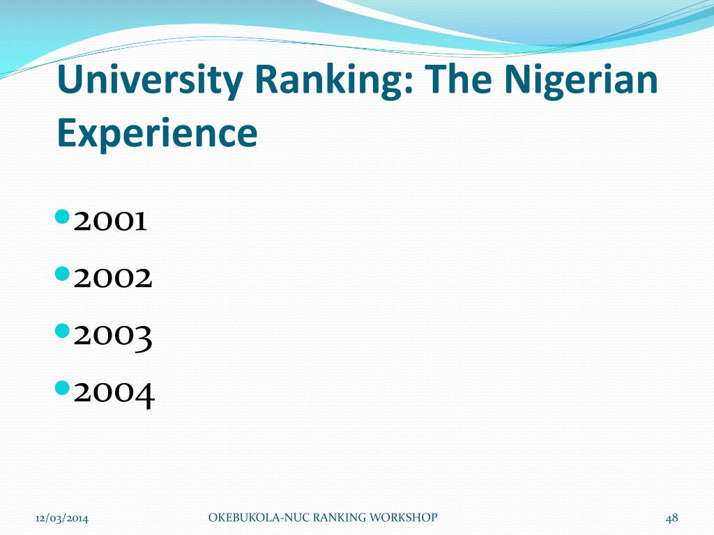University Ranking: The Nigerian Experience