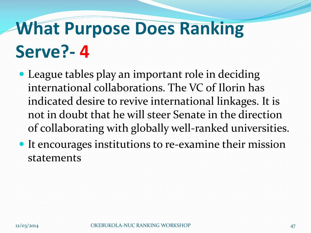 What Purpose Does Ranking Serve?-