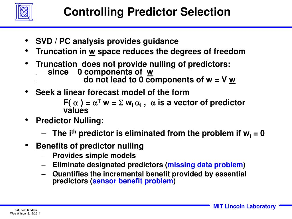 Controlling Predictor Selection