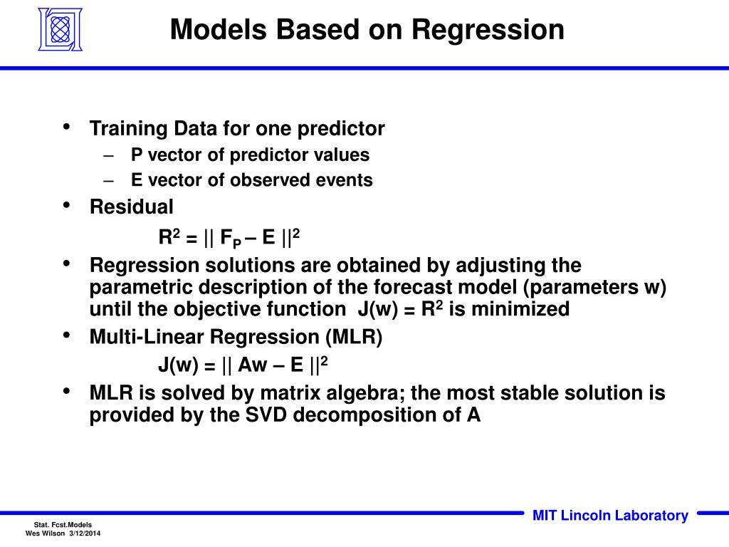 Models Based on Regression