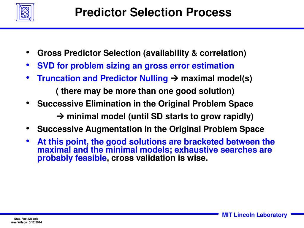 Predictor Selection Process