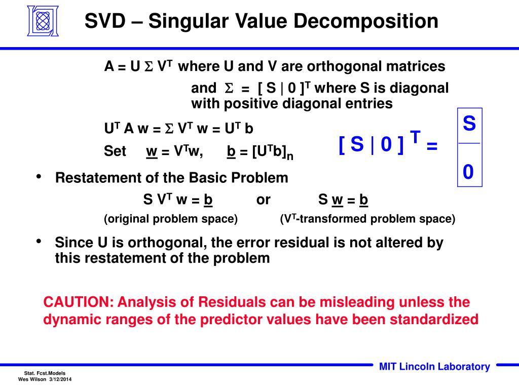 SVD – Singular Value Decomposition