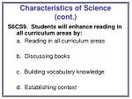 characteristics of science cont