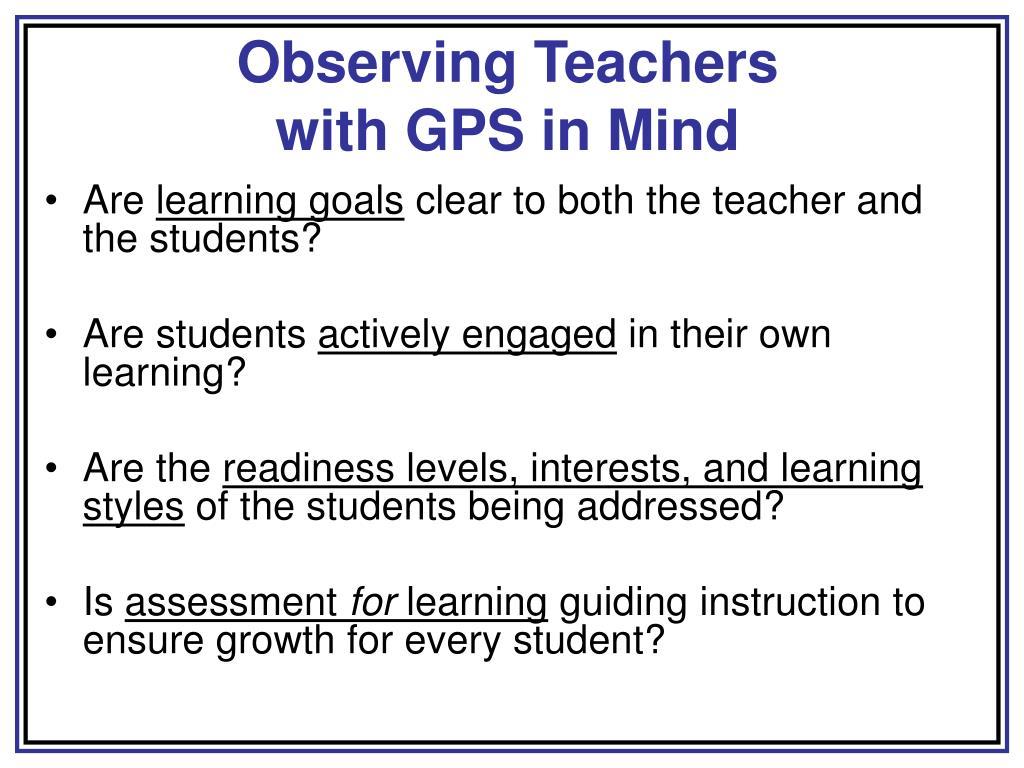 Observing Teachers