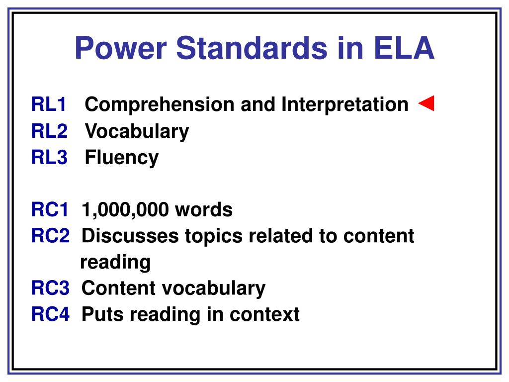 Power Standards in ELA